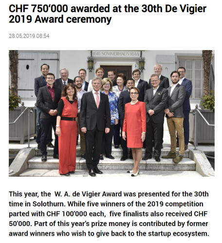 CHF 750'000 awarded at the 30th De Vigier 2019 Award ceremony