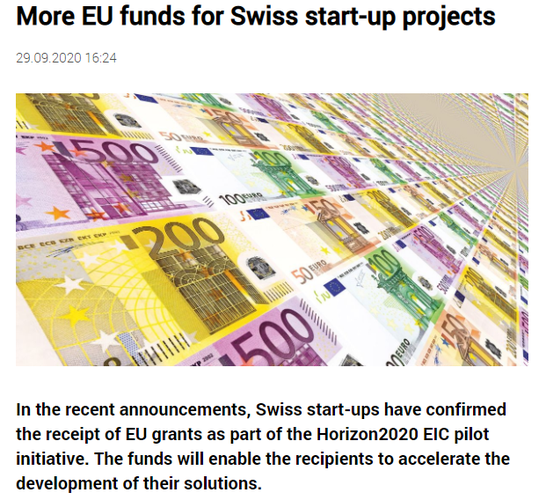 More EU funds for Swiss start-up projects